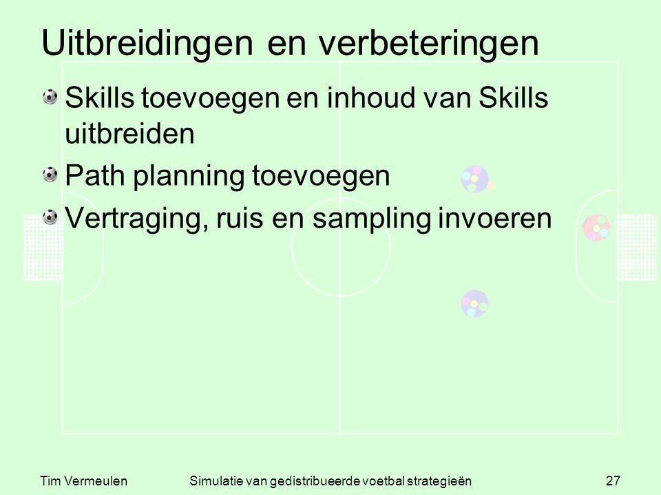 Tim VermeulenSimulatie van gedistribueerde voetbal strategieën27 Uitbreidingen en verbeteringen Skills toevoegen en inhoud van Skills uitbreiden Path planning toevoegen Vertraging, ruis en sampling invoeren