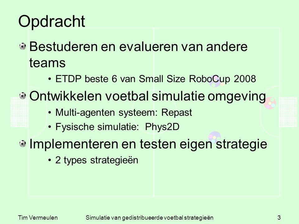 Tim VermeulenSimulatie van gedistribueerde voetbal strategieën3 Opdracht Bestuderen en evalueren van andere teams ETDP beste 6 van Small Size RoboCup