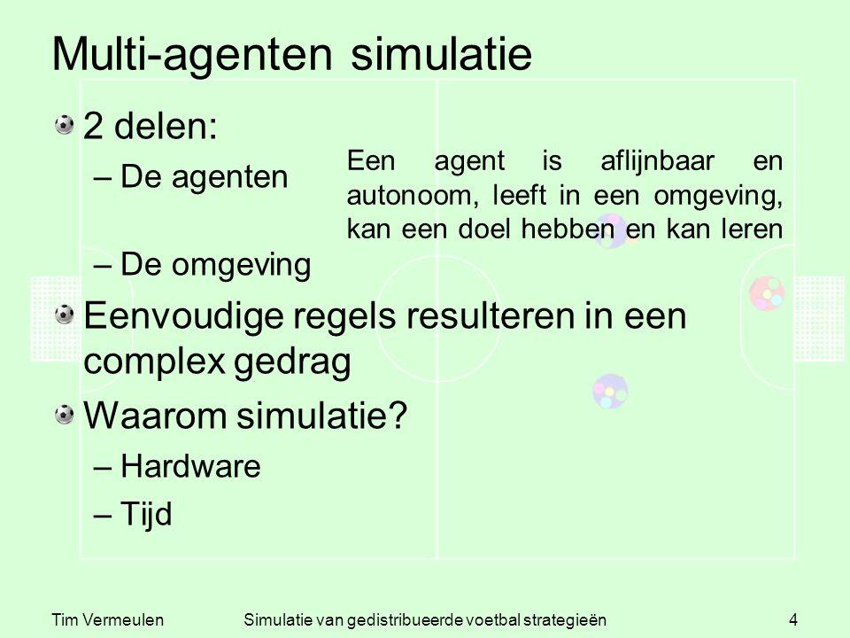Tim VermeulenSimulatie van gedistribueerde voetbal strategieën4 Multi-agenten simulatie 2 delen: –De agenten –De omgeving Eenvoudige regels resulteren in een complex gedrag Waarom simulatie.