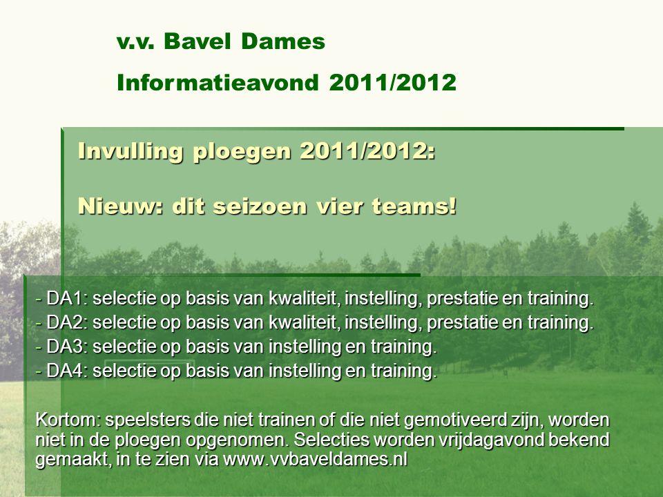 Invulling ploegen 2011/2012: Nieuw: dit seizoen vier teams.