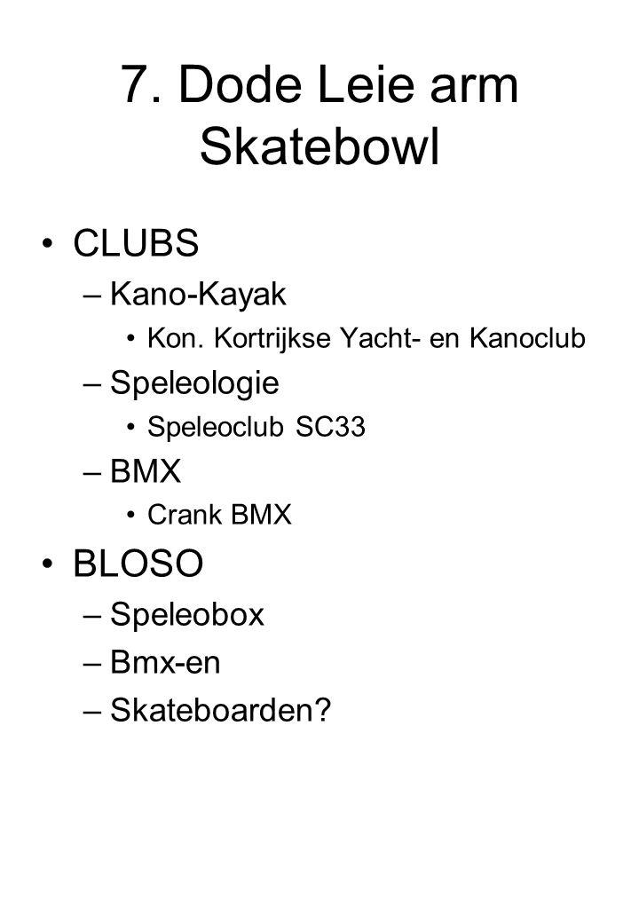 7. Dode Leie arm Skatebowl CLUBS –Kano-Kayak Kon. Kortrijkse Yacht- en Kanoclub –Speleologie Speleoclub SC33 –BMX Crank BMX BLOSO –Speleobox –Bmx-en –