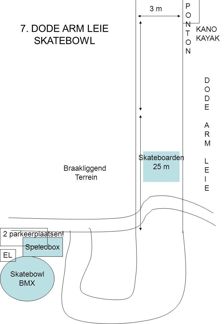 DODEARMLEIEDODEARMLEIE PONTONPONTON 3 m Skateboarden 25 m Skatebowl BMX Speleobox 2 parkeerplaatsen.
