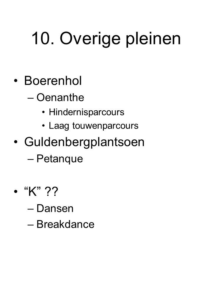 "10. Overige pleinen Boerenhol –Oenanthe Hindernisparcours Laag touwenparcours Guldenbergplantsoen –Petanque ""K"" ?? –Dansen –Breakdance"