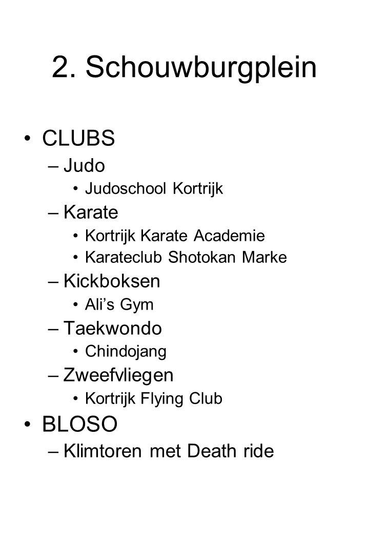 2. Schouwburgplein CLUBS –Judo Judoschool Kortrijk –Karate Kortrijk Karate Academie Karateclub Shotokan Marke –Kickboksen Ali's Gym –Taekwondo Chindoj