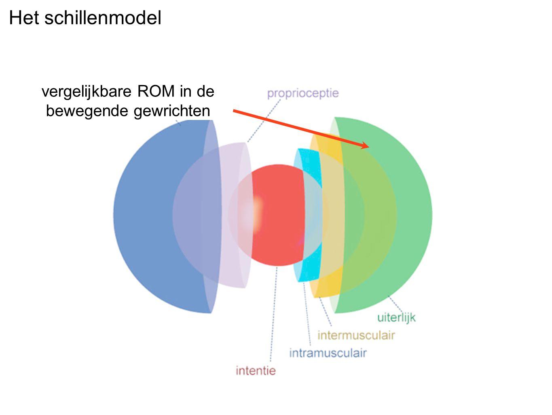 Het schillenmodel vergelijkbare ROM in de bewegende gewrichten