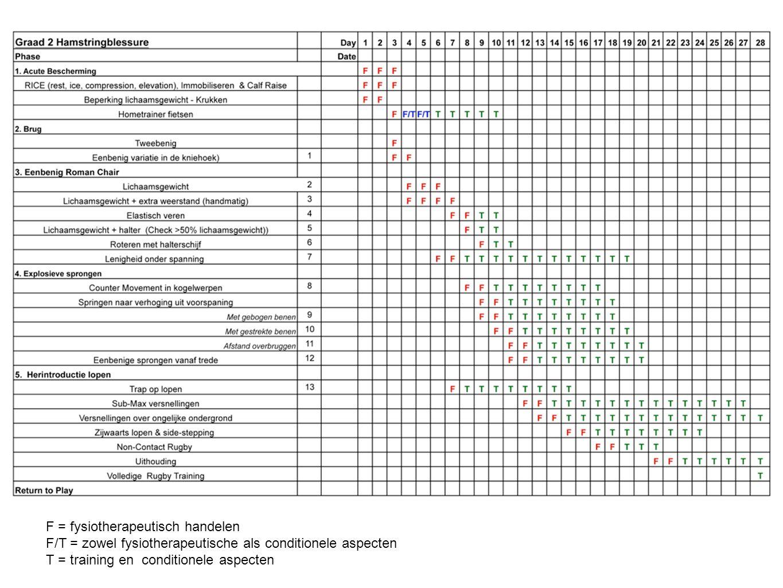 F = fysiotherapeutisch handelen F/T = zowel fysiotherapeutische als conditionele aspecten T = training en conditionele aspecten