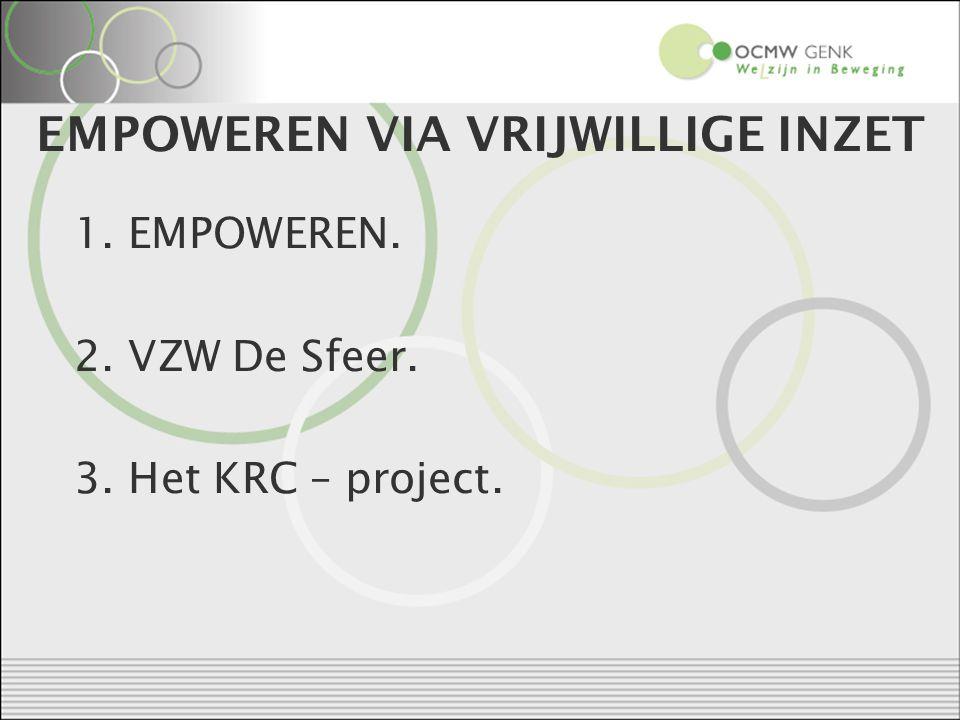 EMPOWEREN VIA VRIJWILLIGE INZET 1. EMPOWEREN. 2. VZW De Sfeer. 3. Het KRC – project.