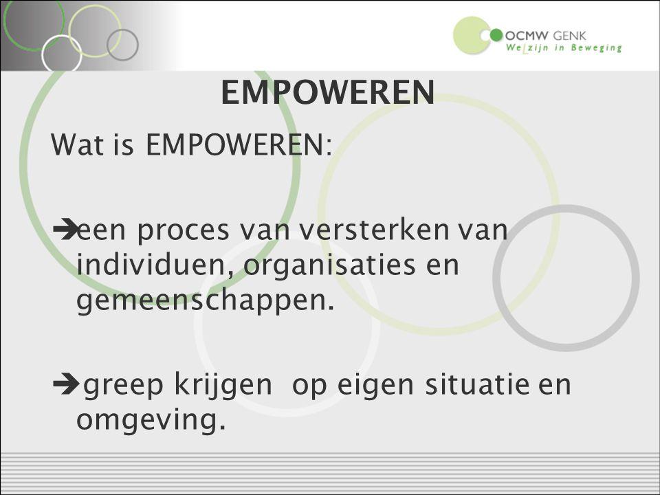 EMPOWEREN Wat is EMPOWEREN:  een proces van versterken van individuen, organisaties en gemeenschappen.
