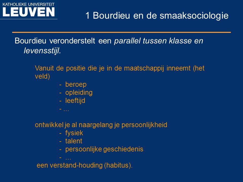1 Bourdieu en de smaaksociologie Bourdieu veronderstelt een parallel tussen klasse en levensstijl. Vanuit de positie die je in de maatschappij inneemt