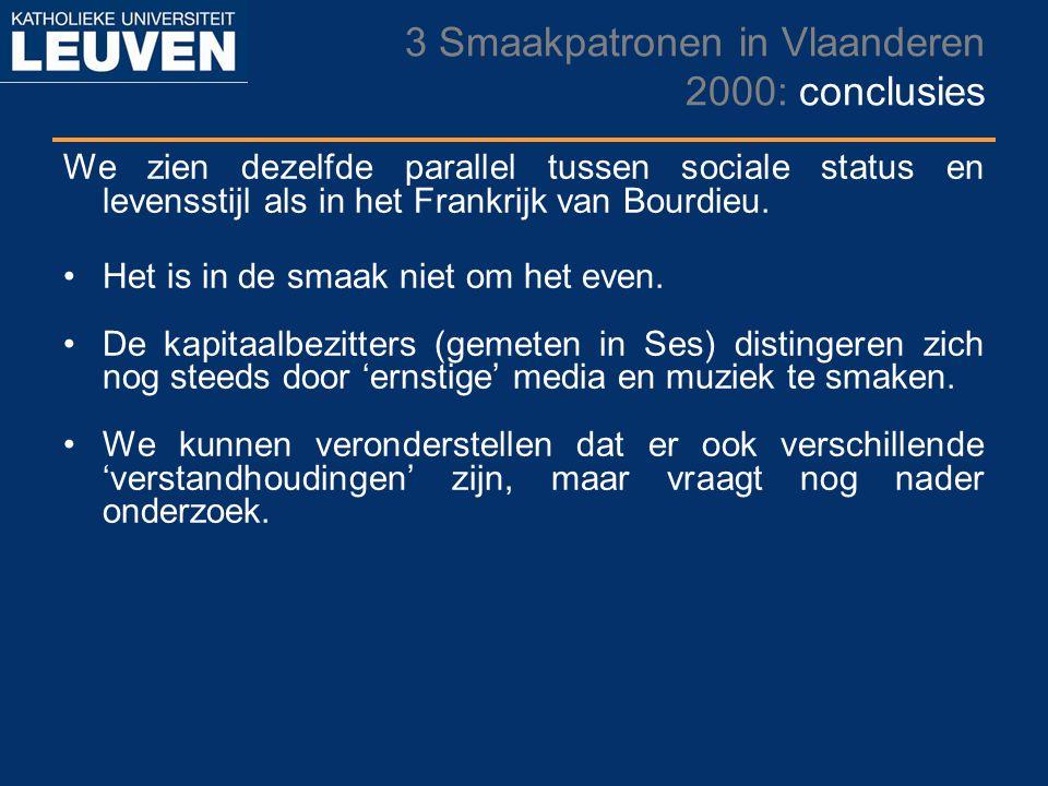 3 Smaakpatronen in Vlaanderen 2000: conclusies We zien dezelfde parallel tussen sociale status en levensstijl als in het Frankrijk van Bourdieu. Het i