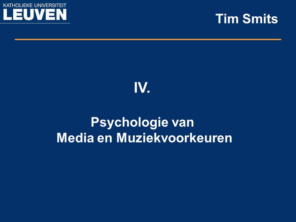IV. Psychologie van Media en Muziekvoorkeuren Tim Smits