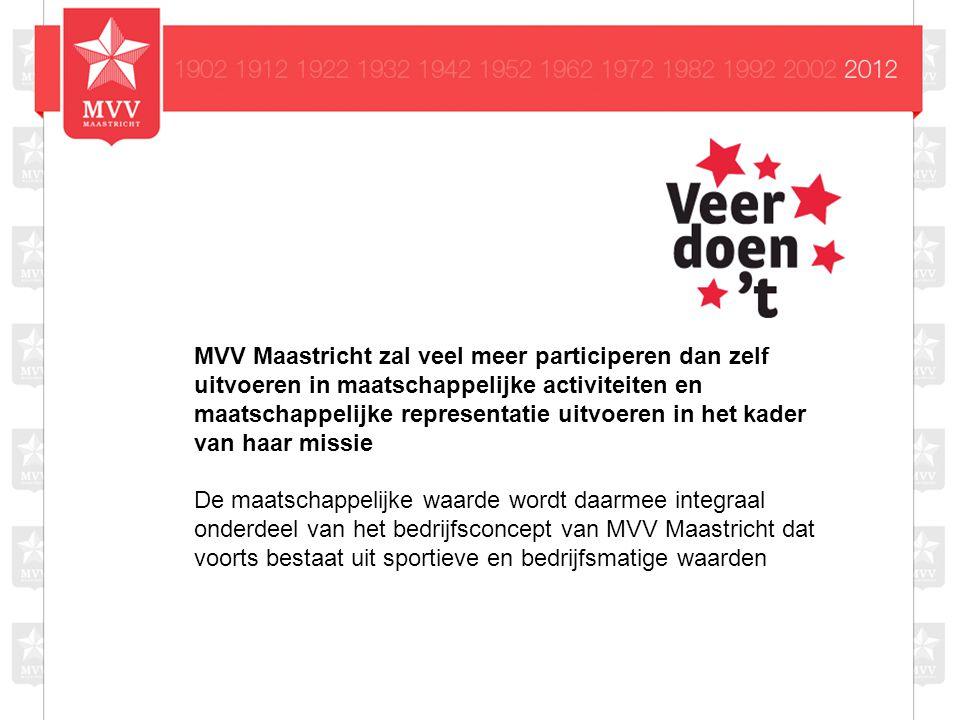 MVV Maastricht zal veel meer participeren dan zelf uitvoeren in maatschappelijke activiteiten en maatschappelijke representatie uitvoeren in het kader van haar missie De maatschappelijke waarde wordt daarmee integraal onderdeel van het bedrijfsconcept van MVV Maastricht dat voorts bestaat uit sportieve en bedrijfsmatige waarden