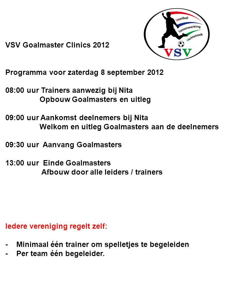 VSV Goalmaster Clinics 2012 Programma voor zaterdag 8 september 2012 08:00 uur Trainers aanwezig bij Nita Opbouw Goalmasters en uitleg 09:00 uur Aanko