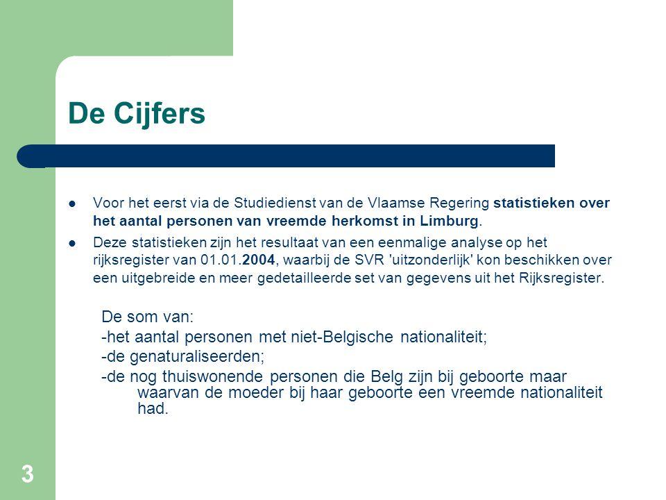 3 De Cijfers Voor het eerst via de Studiedienst van de Vlaamse Regering statistieken over het aantal personen van vreemde herkomst in Limburg. Deze st
