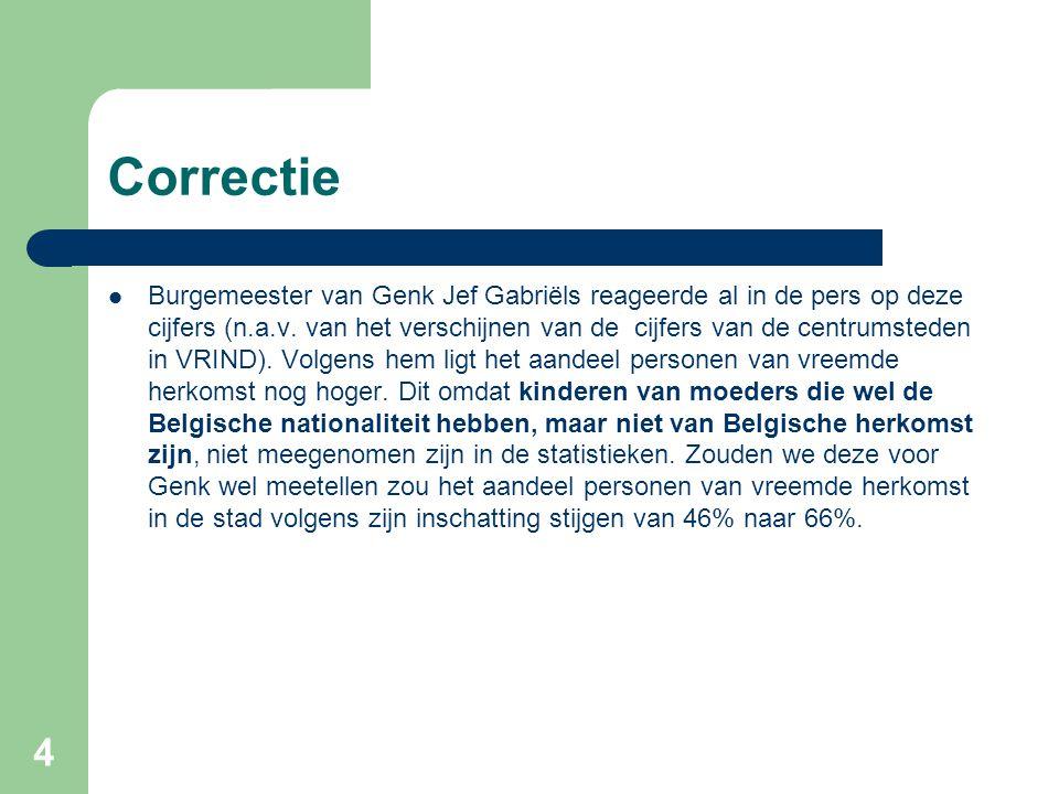 Correctie Burgemeester van Genk Jef Gabriëls reageerde al in de pers op deze cijfers (n.a.v. van het verschijnen van de cijfers van de centrumsteden i
