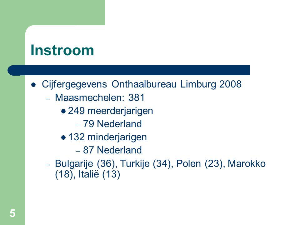 5 Instroom Cijfergegevens Onthaalbureau Limburg 2008 – Maasmechelen: 381 249 meerderjarigen – 79 Nederland 132 minderjarigen – 87 Nederland – Bulgarije (36), Turkije (34), Polen (23), Marokko (18), Italië (13)
