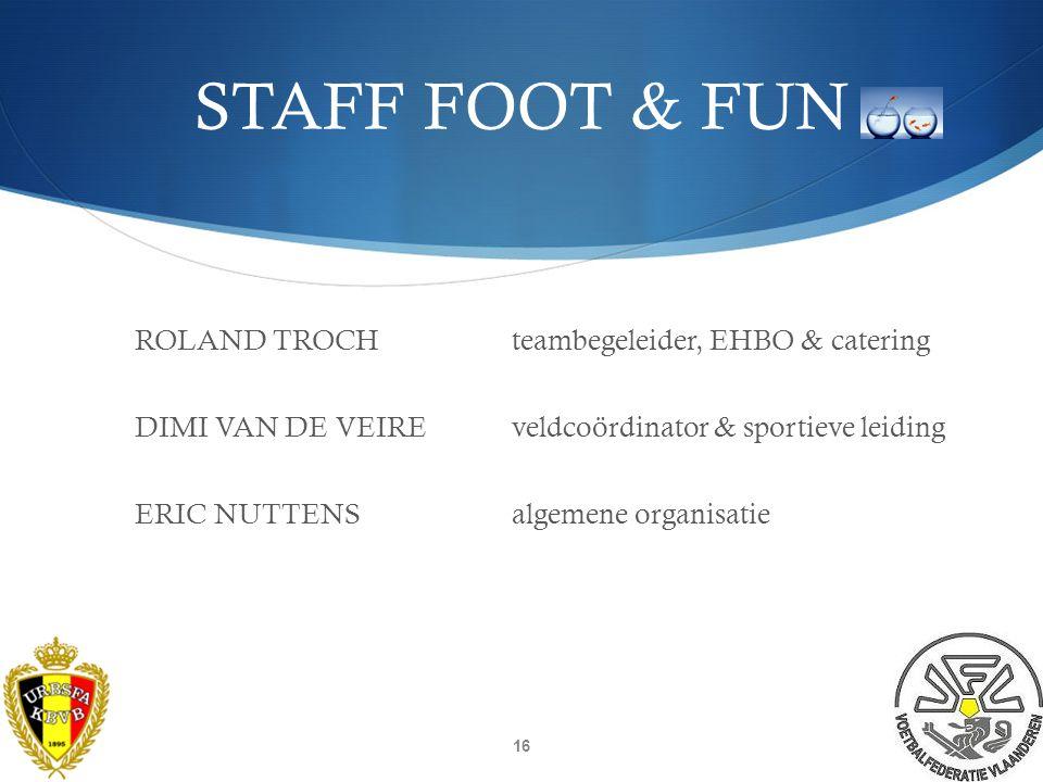 TRAINERS FOOT&FUN  TRAINERS:  Wouter BisschopStandaard Wetteren  Jesse BrouwersKVV Sint-Denijssport  Tim LoobuyckKVE Aalter  Hottois GaëtanKMSK Deinze 15