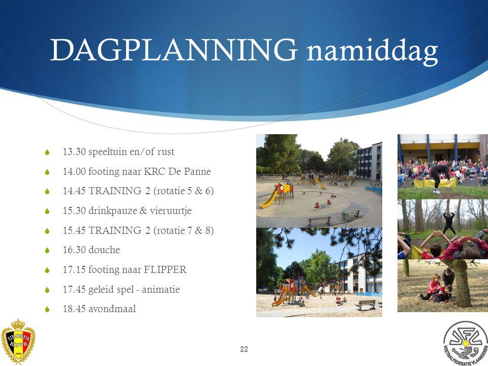 DAGPLANNING voormiddag 08.00 opstaan (wekdienst 07.45) 08.30 ontbijt 09.15 hygiëne & voetbaltas maken 09.30 footing naar KRC DE PANNE 10.00 TRAINING 1 (rotatie 1 & 2) 10.45 drinkpauze 11.00 TRAINING 1 (rotatie 3 & 4) 11.45 douche & sportverzorging 12.15 footing naar FLIPPER 12.45 middagmaal 21