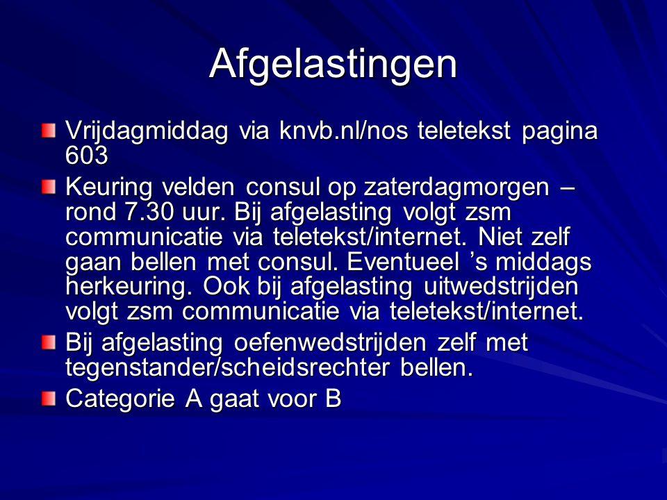 Afgelastingen Vrijdagmiddag via knvb.nl/nos teletekst pagina 603 Keuring velden consul op zaterdagmorgen – rond 7.30 uur. Bij afgelasting volgt zsm co