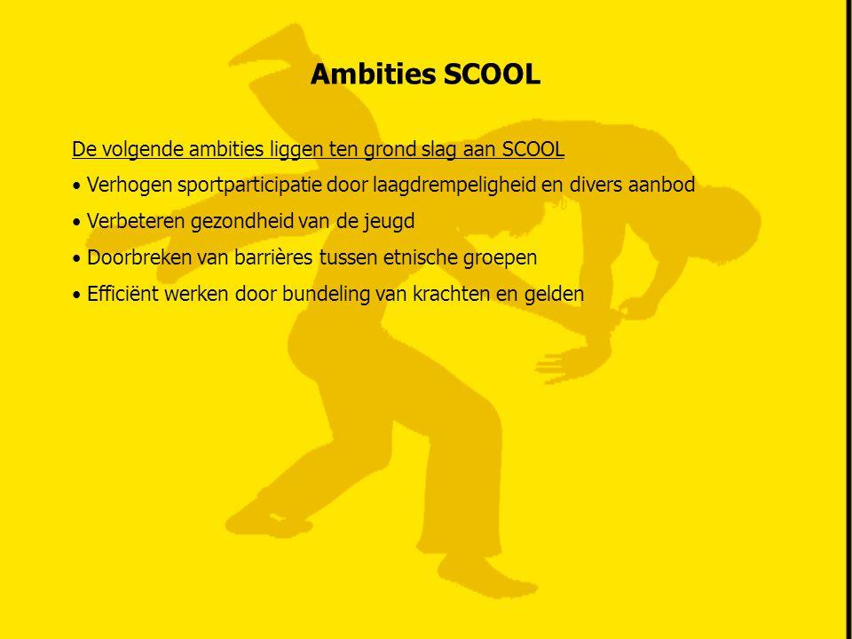 Ambities SCOOL De volgende ambities liggen ten grond slag aan SCOOL Verhogen sportparticipatie door laagdrempeligheid en divers aanbod Verbeteren gezo