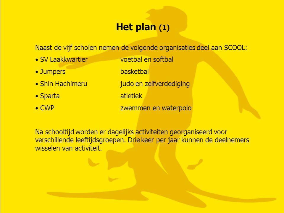 Het plan (1) Naast de vijf scholen nemen de volgende organisaties deel aan SCOOL: SV Laakkwartiervoetbal en softbal Jumpersbasketbal Shin Hachimerujud