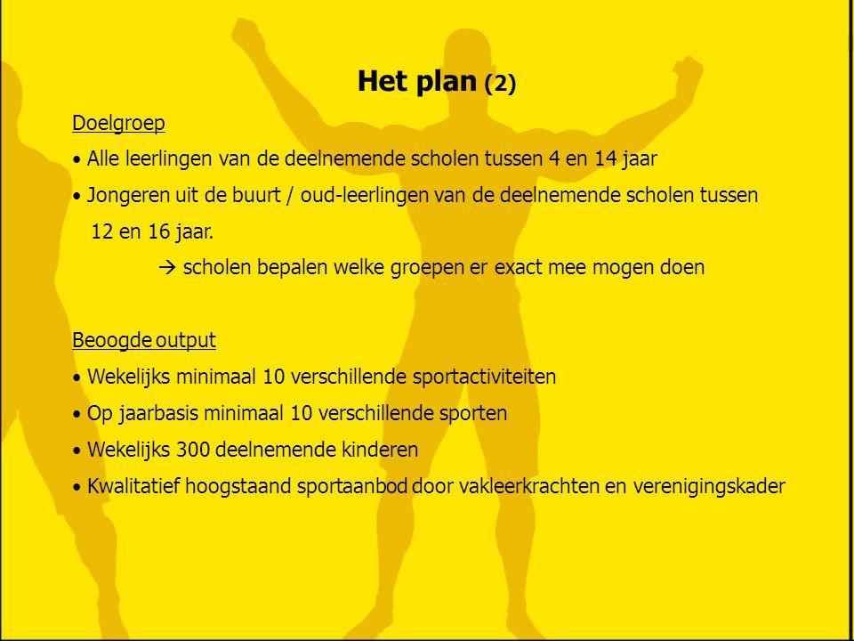 Het plan (2) Doelgroep Alle leerlingen van de deelnemende scholen tussen 4 en 14 jaar Jongeren uit de buurt / oud-leerlingen van de deelnemende schole