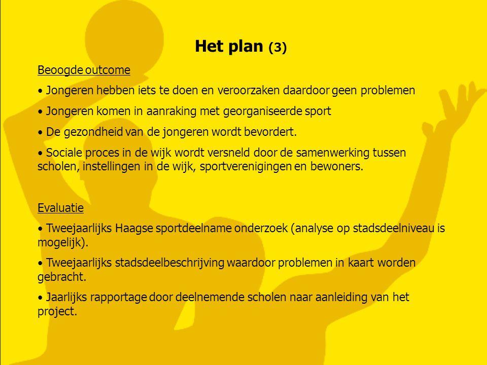 Het plan (3) Beoogde outcome Jongeren hebben iets te doen en veroorzaken daardoor geen problemen Jongeren komen in aanraking met georganiseerde sport