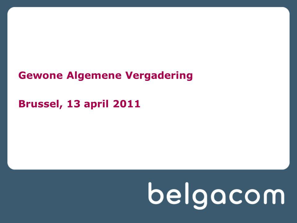 € 734 miljoen geïnvesteerd, of 11,1% van de opbrengsten Belgacom blijft verder investeren in een nationaal netwerk van hoge kwaliteit voor zowel vaste als mobiele diensten 3G-netwerk bereikt nu > 97% van de bevolking Businesstransformatieproject Move-to-all-IP Verdere uitrol en installatie van VDSL2, bereik van > 76% Vernieuwing van rechten op content voor Belgacom TV Verlenging van 2G-licentie voor de periode 2010-2015 2008 incl.