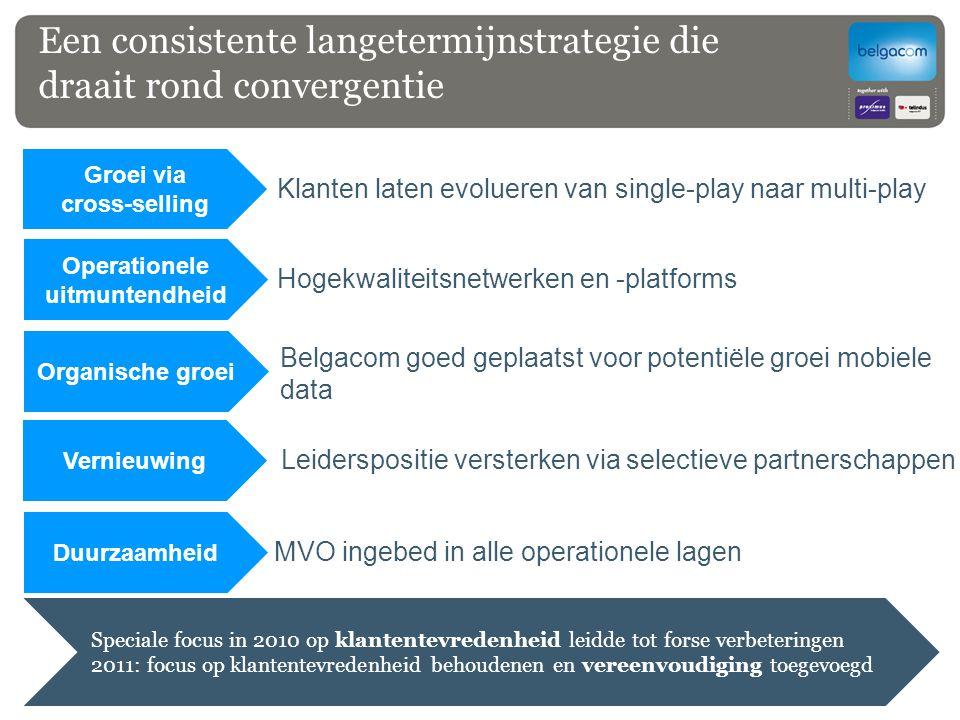 Een consistente langetermijnstrategie die draait rond convergentie Groei via cross-selling Hogekwalit eitsnetwerk en en - platforms Klanten laten evol