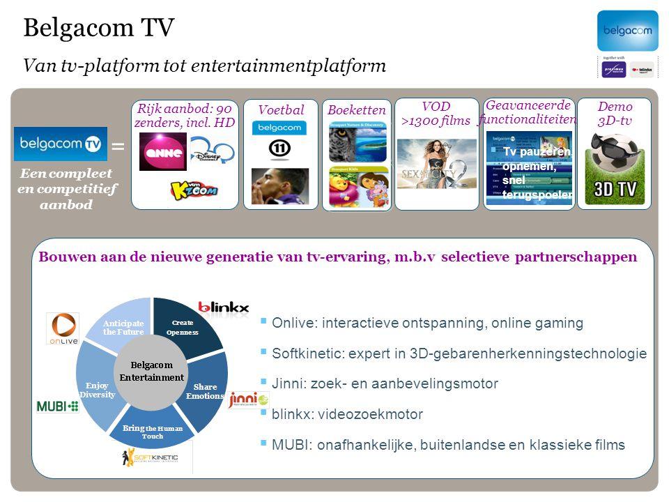 Voetbal Boeketten =  Tv pauzeren, opnemen, snel terugspoelen Belgacom TV Van tv-platform tot entertainmentplatform Rijk aanbod: 90 zenders, incl. HD