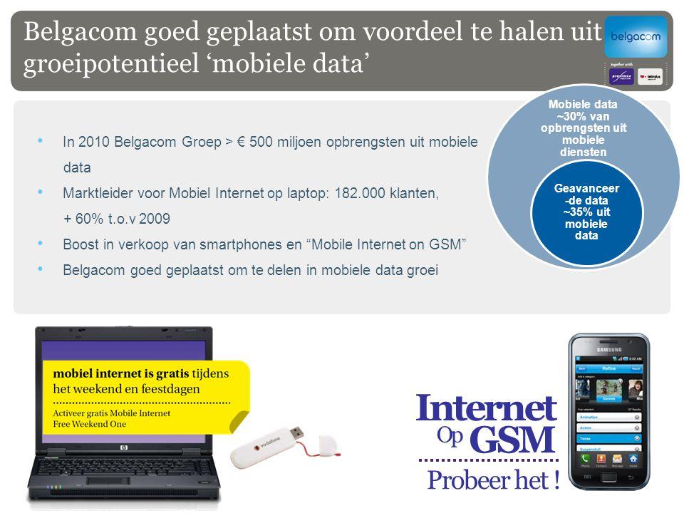 Belgacom goed geplaatst om voordeel te halen uit groeipotentieel 'mobiele data' In 2010 Belgacom Groep > € 500 miljoen opbrengsten uit mobiele data Ma