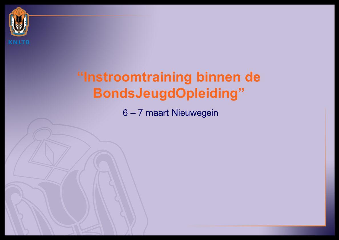 """""""Instroomtraining binnen de BondsJeugdOpleiding"""" 6 – 7 maart Nieuwegein"""