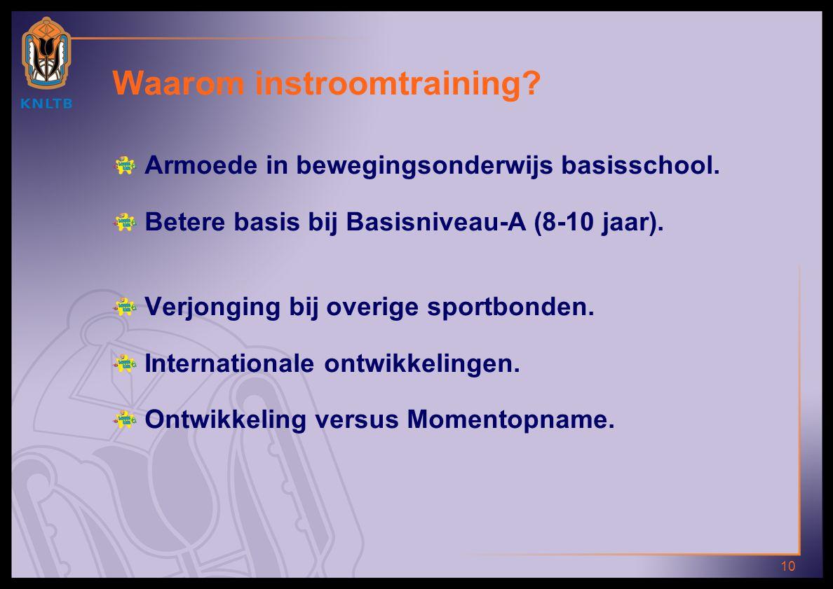 10 Waarom instroomtraining? Armoede in bewegingsonderwijs basisschool. Betere basis bij Basisniveau-A (8-10 jaar). Verjonging bij overige sportbonden.