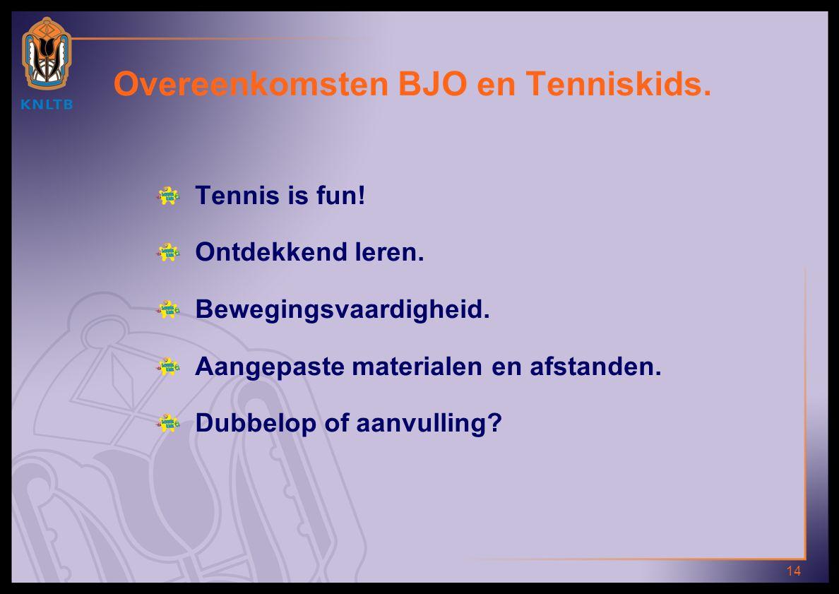 14 Overeenkomsten BJO en Tenniskids. Tennis is fun! Ontdekkend leren. Bewegingsvaardigheid. Aangepaste materialen en afstanden. Dubbelop of aanvulling