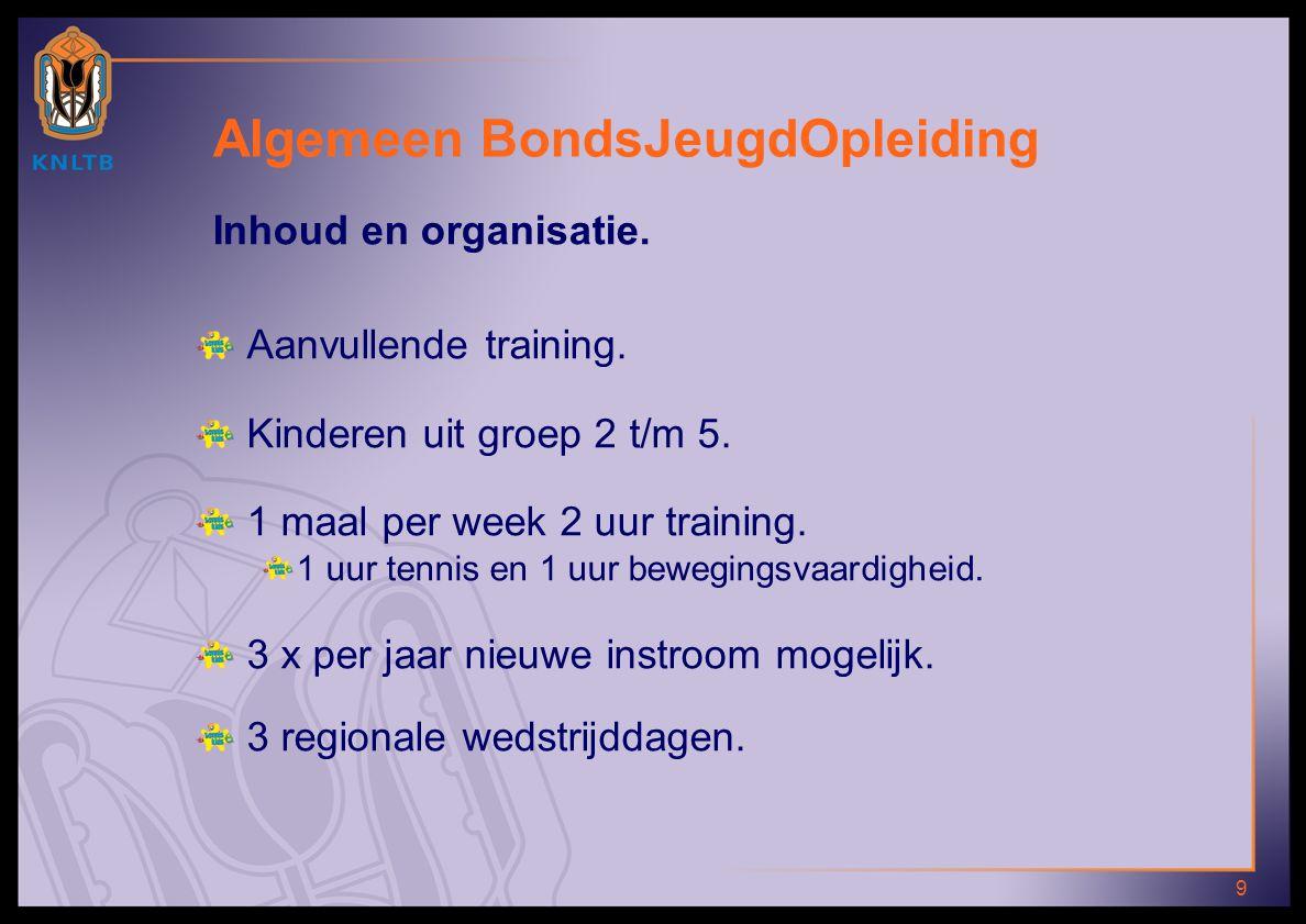 9 Inhoud en organisatie.Aanvullende training. Kinderen uit groep 2 t/m 5.