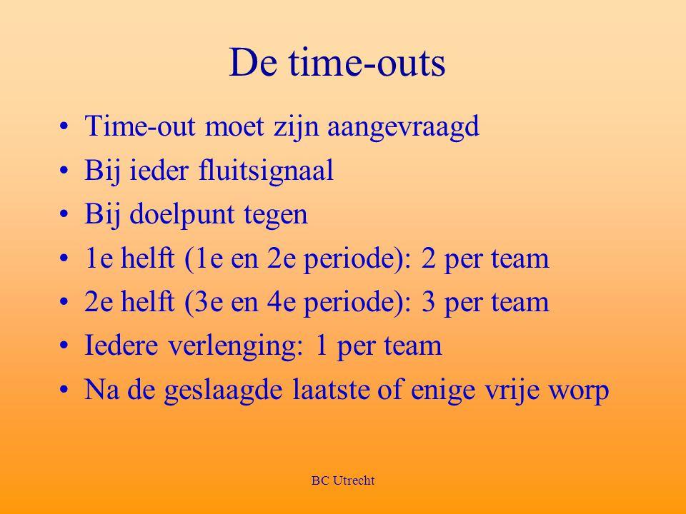 BC Utrecht De time-outs Time-out moet zijn aangevraagd Bij ieder fluitsignaal Bij doelpunt tegen 1e helft (1e en 2e periode): 2 per team 2e helft (3e