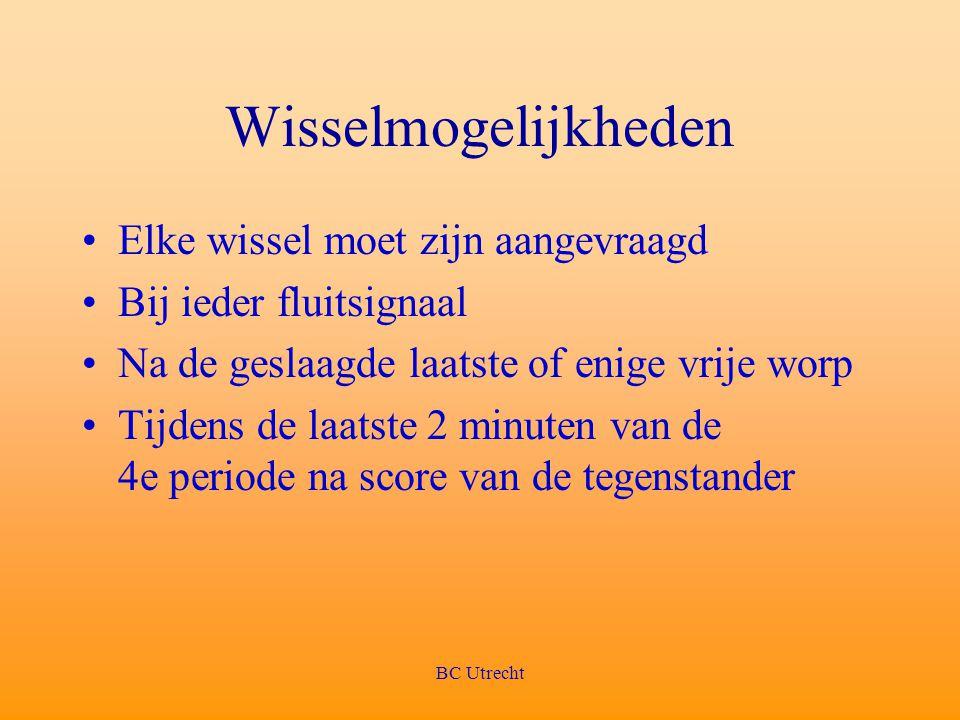 BC Utrecht Wisselmogelijkheden Elke wissel moet zijn aangevraagd Bij ieder fluitsignaal Na de geslaagde laatste of enige vrije worp Tijdens de laatste