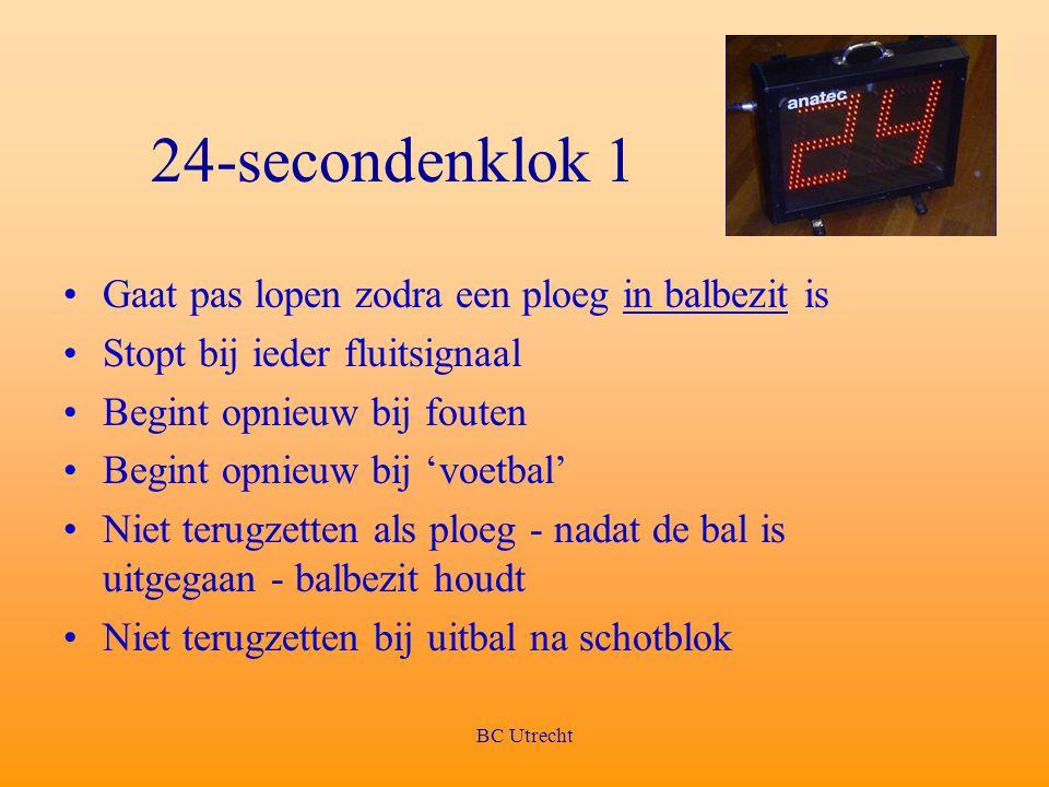 BC Utrecht 24-secondenklok 1 Gaat pas lopen zodra een ploeg in balbezit is Stopt bij ieder fluitsignaal Begint opnieuw bij fouten Begint opnieuw bij '