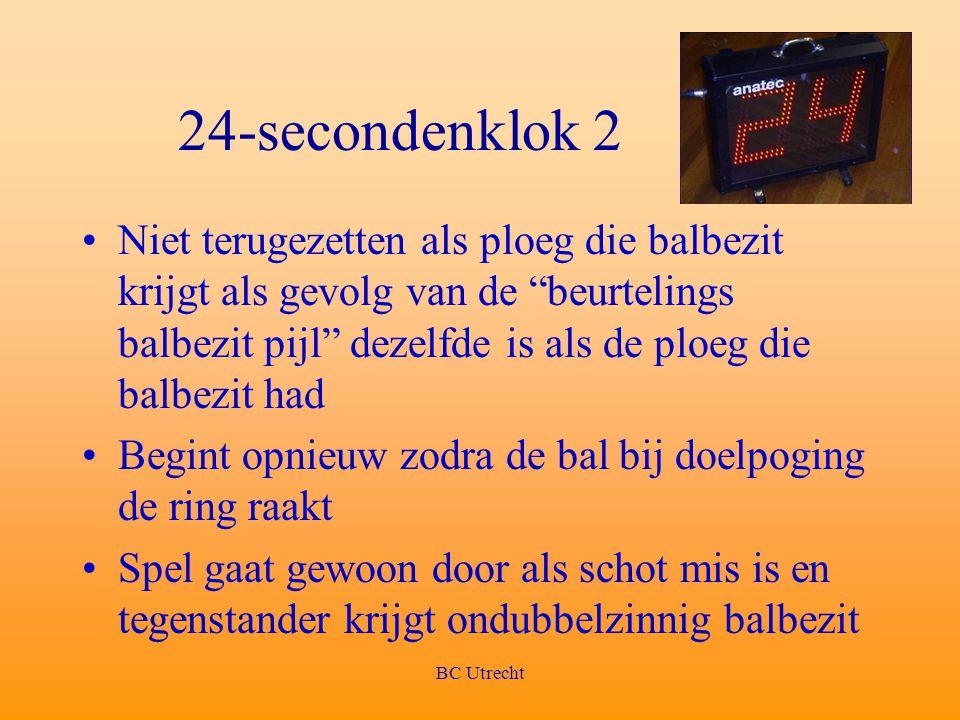 """BC Utrecht 24-secondenklok 2 Niet terugezetten als ploeg die balbezit krijgt als gevolg van de """"beurtelings balbezit pijl"""" dezelfde is als de ploeg di"""