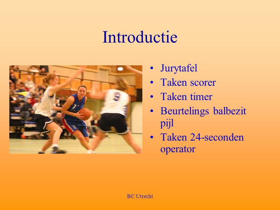 BC Utrecht Introductie Jurytafel Taken scorer Taken timer Beurtelings balbezit pijl Taken 24-seconden operator