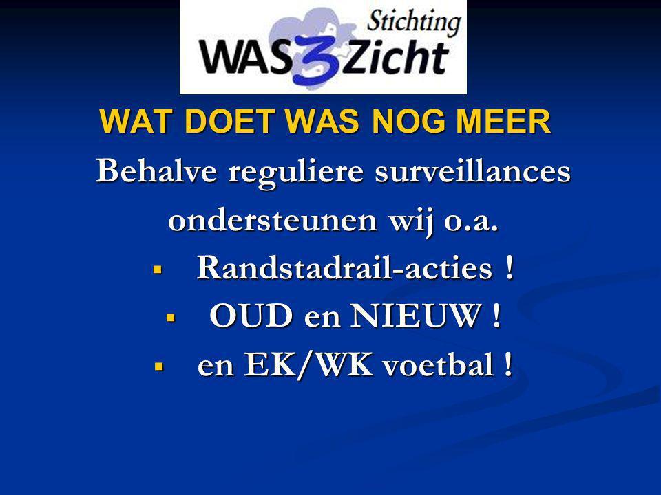 WAT DOET WAS NOG MEER Behalve reguliere surveillances ondersteunen wij o.a.