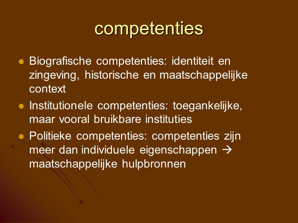 competenties Biografische competenties: identiteit en zingeving, historische en maatschappelijke context Institutionele competenties: toegankelijke, m