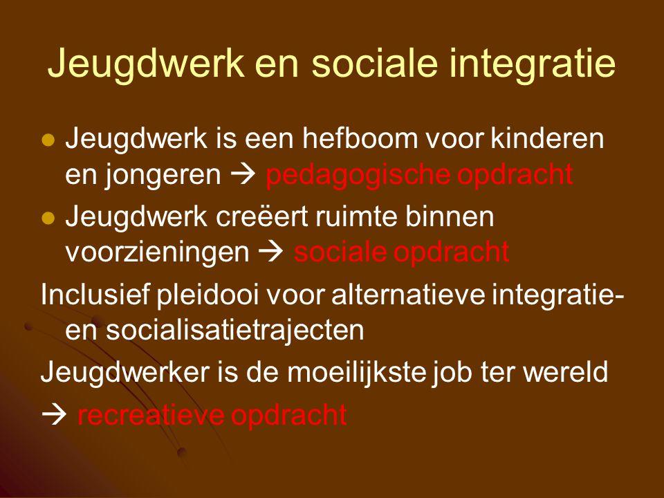 Jeugdwerk en sociale integratie Jeugdwerk is een hefboom voor kinderen en jongeren  pedagogische opdracht Jeugdwerk creëert ruimte binnen voorziening