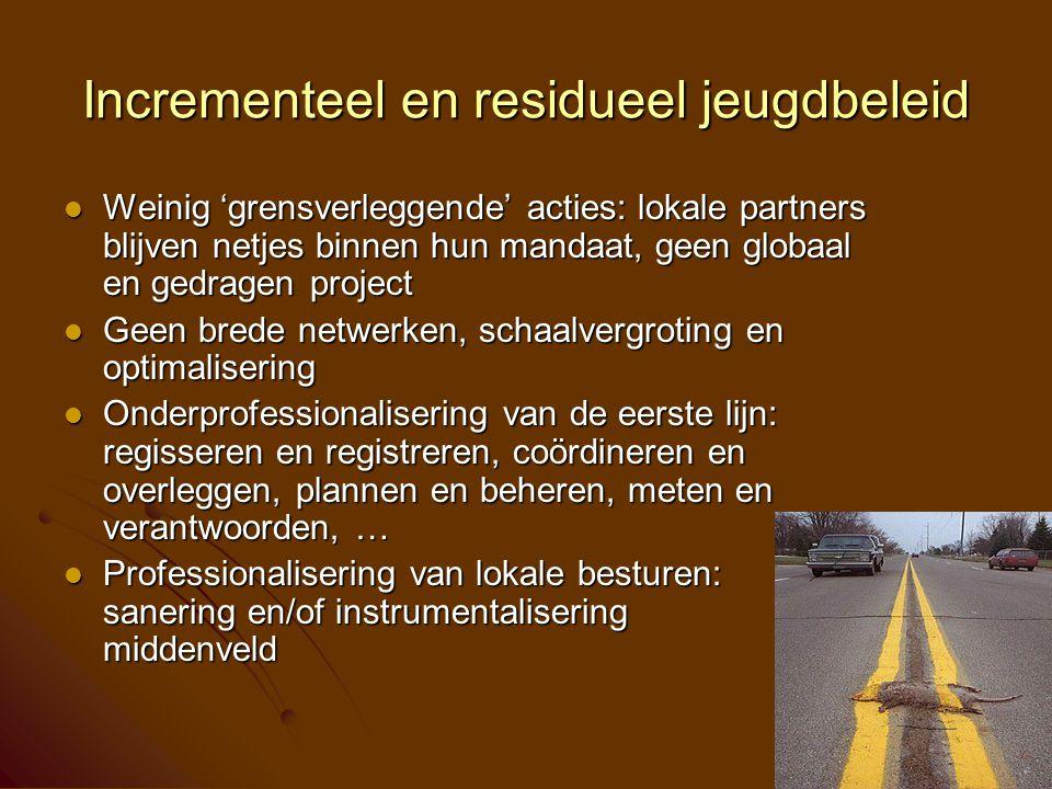 Incrementeel en residueel jeugdbeleid Weinig 'grensverleggende' acties: lokale partners blijven netjes binnen hun mandaat, geen globaal en gedragen pr