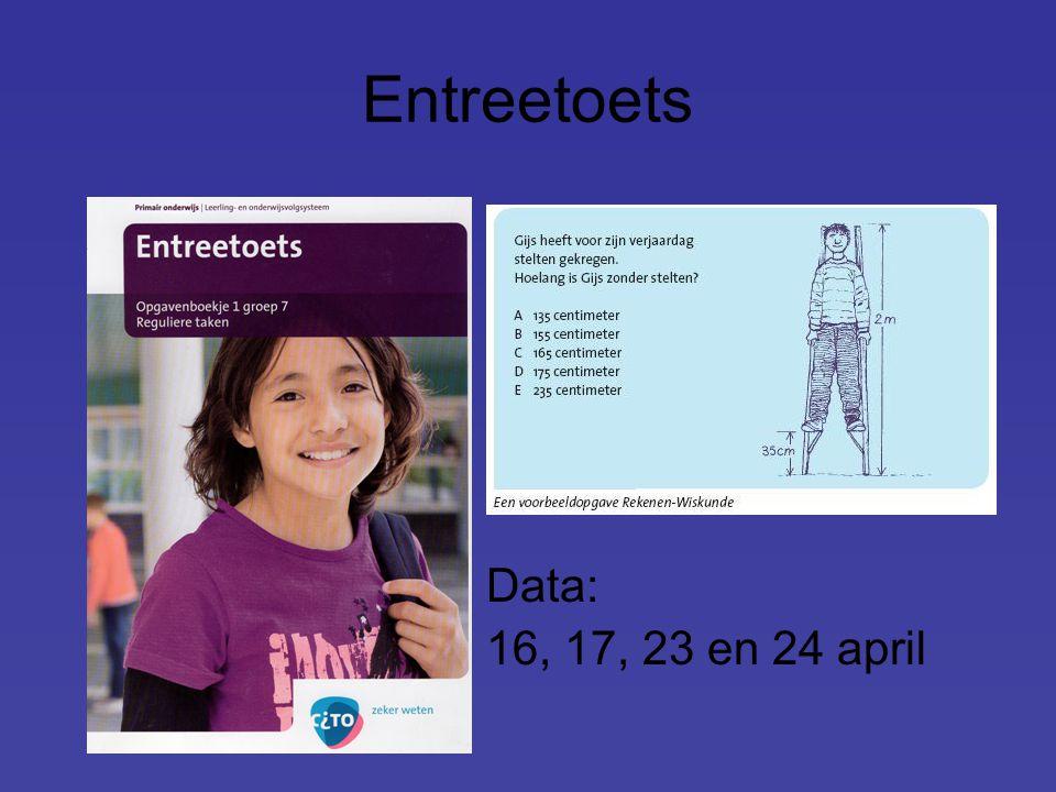 Entreetoets Data: 16, 17, 23 en 24 april