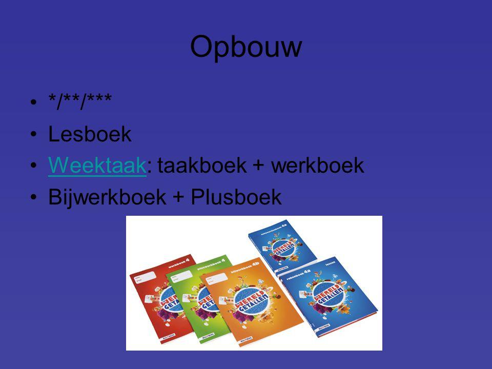 Opbouw */**/*** Lesboek Weektaak: taakboek + werkboekWeektaak Bijwerkboek + Plusboek
