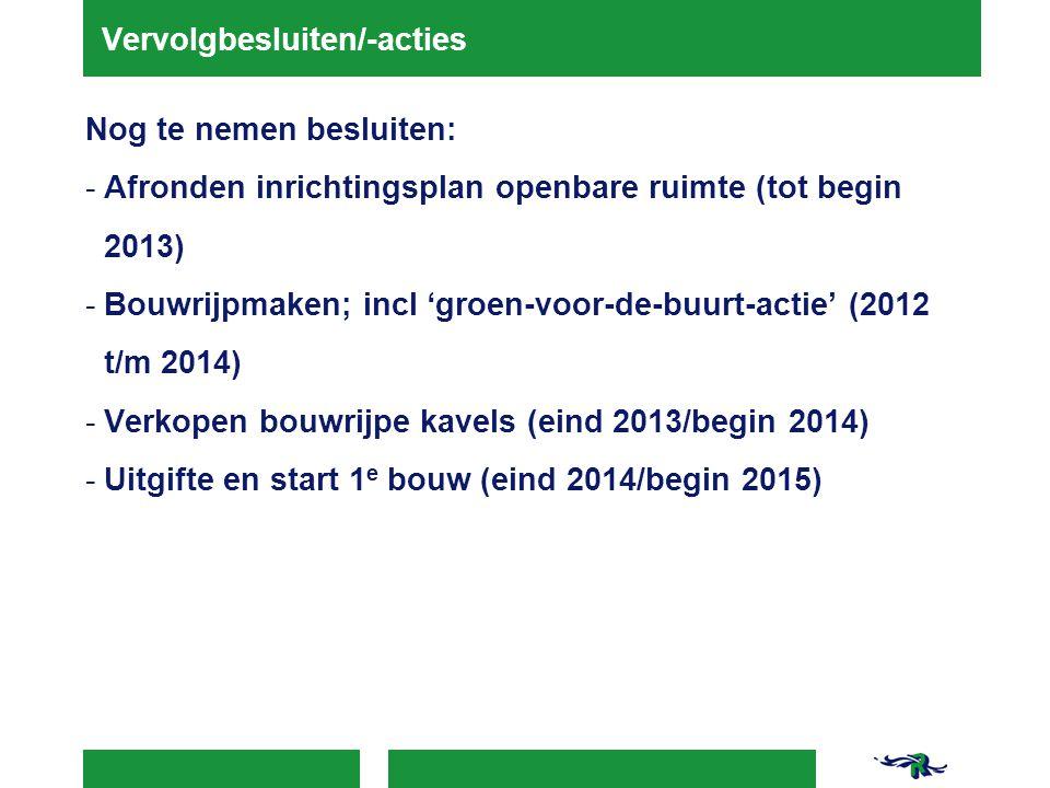 Vervolgbesluiten/-acties Nog te nemen besluiten: -Afronden inrichtingsplan openbare ruimte (tot begin 2013) -Bouwrijpmaken; incl 'groen-voor-de-buurt-