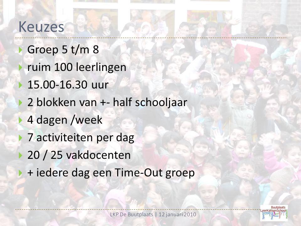 Keuzes LKP De Buutplaats | 12 januari 2010  Groep 5 t/m 8  ruim 100 leerlingen  15.00-16.30 uur  2 blokken van +- half schooljaar  4 dagen /week  7 activiteiten per dag  20 / 25 vakdocenten  + iedere dag een Time-Out groep