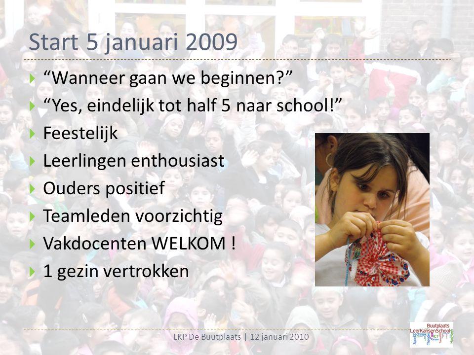 Start 5 januari 2009 LKP De Buutplaats | 12 januari 2010  Wanneer gaan we beginnen?  Yes, eindelijk tot half 5 naar school!  Feestelijk  Leerlingen enthousiast  Ouders positief  Teamleden voorzichtig  Vakdocenten WELKOM .