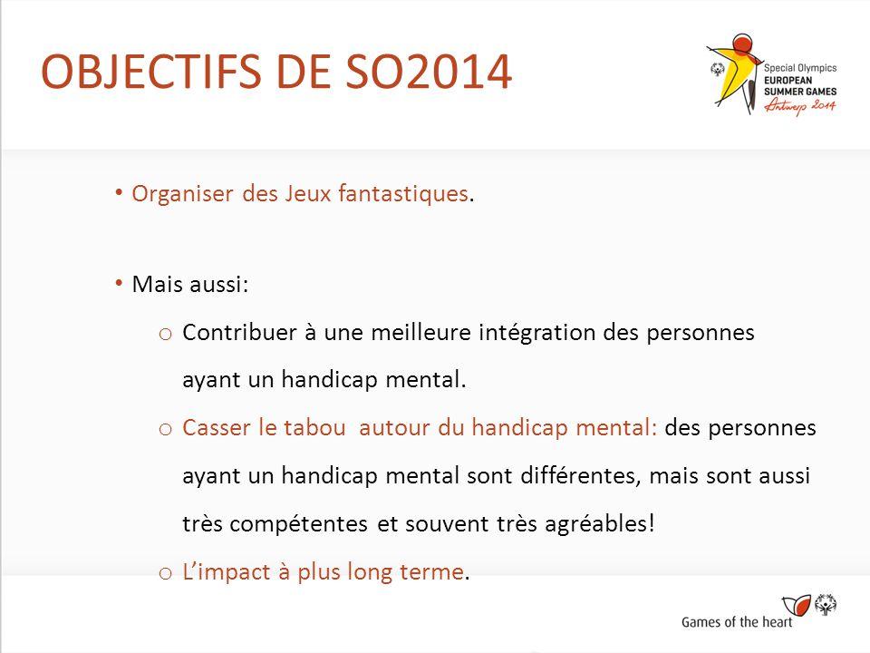 OBJECTIFS DE SO2014 Organiser des Jeux fantastiques. Mais aussi: o Contribuer à une meilleure intégration des personnes ayant un handicap mental. o Ca